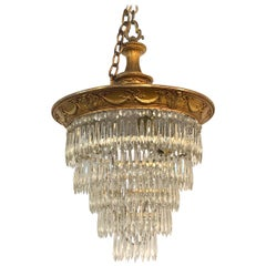 19th Century French Gilt Bronze and Crystal Waterfall Chandelier