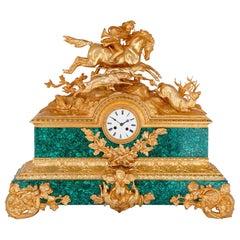 19th Century French Gilt Bronze and Malachite Mantel Clock