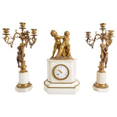 19th Century French Gilt Bronze and Marble figural Clock Garniture Set