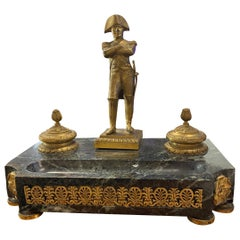 19th Century French Gilt Bronze and Marble Ink Stand