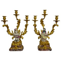 19th Century, French Gilt Bronze and Porcelain Candlesticks