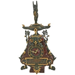 19th Century French Gilt Bronze and Rouge Marble Mantel Clock by Charpentier