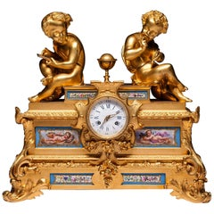 19th Century French Gilt Bronze and Sevres Porcelain Clock By Raingo Frer