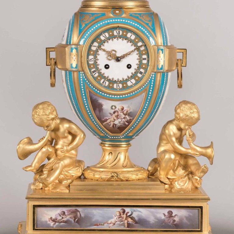 Louis XVI 19th Century French Gilt Bronze and Sevres Porcelain Garniture De Cheminée For Sale
