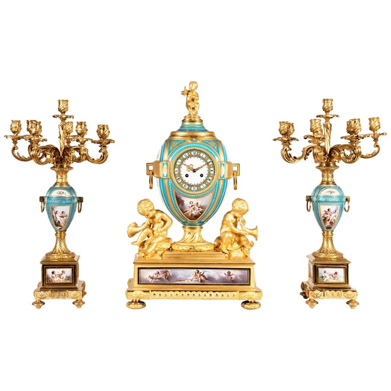 19th Century French Gilt Bronze and Sevres Porcelain Garniture De Cheminée For Sale