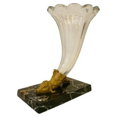 19th Century French Gilt Bronze, Baccarat Crystal and Marble Cornucopia Vase
