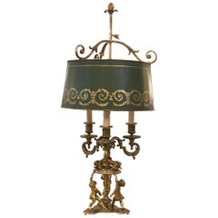 19th Century French Gilt Bronze Candelabra Bouillotte Lamp