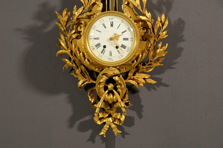 19th century, French Gilt Bronze Cartel Clock For Sale 5