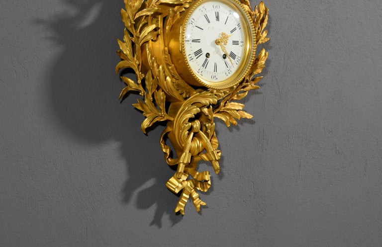 19th century, French Gilt Bronze Cartel Clock For Sale 8
