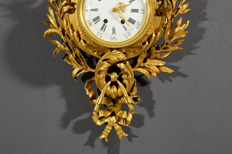 19th century, French Gilt Bronze Cartel Clock For Sale 9
