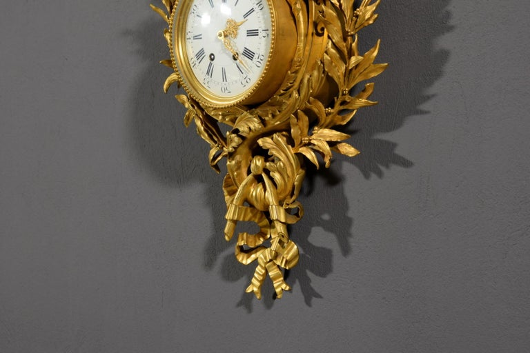 19th century, French Gilt Bronze Cartel Clock For Sale 10