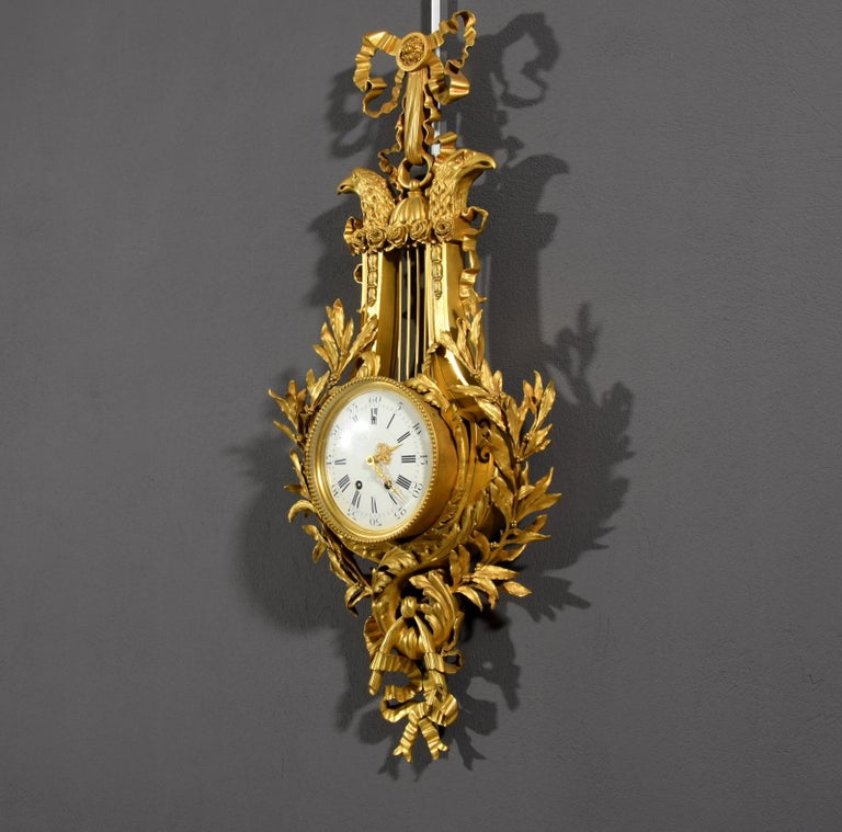 19th century, French Gilt Bronze Cartel Clock For Sale 11