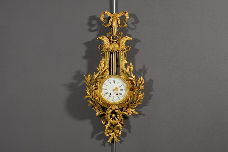 19th century, French Gilt Bronze Cartel Clock For Sale 12