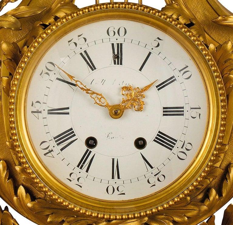 Louis XVI 19th century, French Gilt Bronze Cartel Clock For Sale
