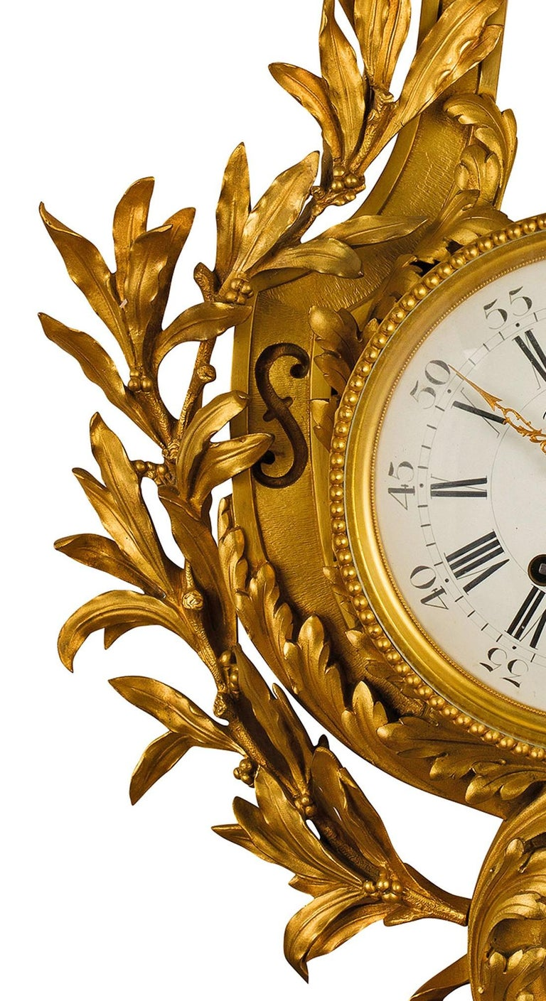 19th Century 19th century, French Gilt Bronze Cartel Clock For Sale