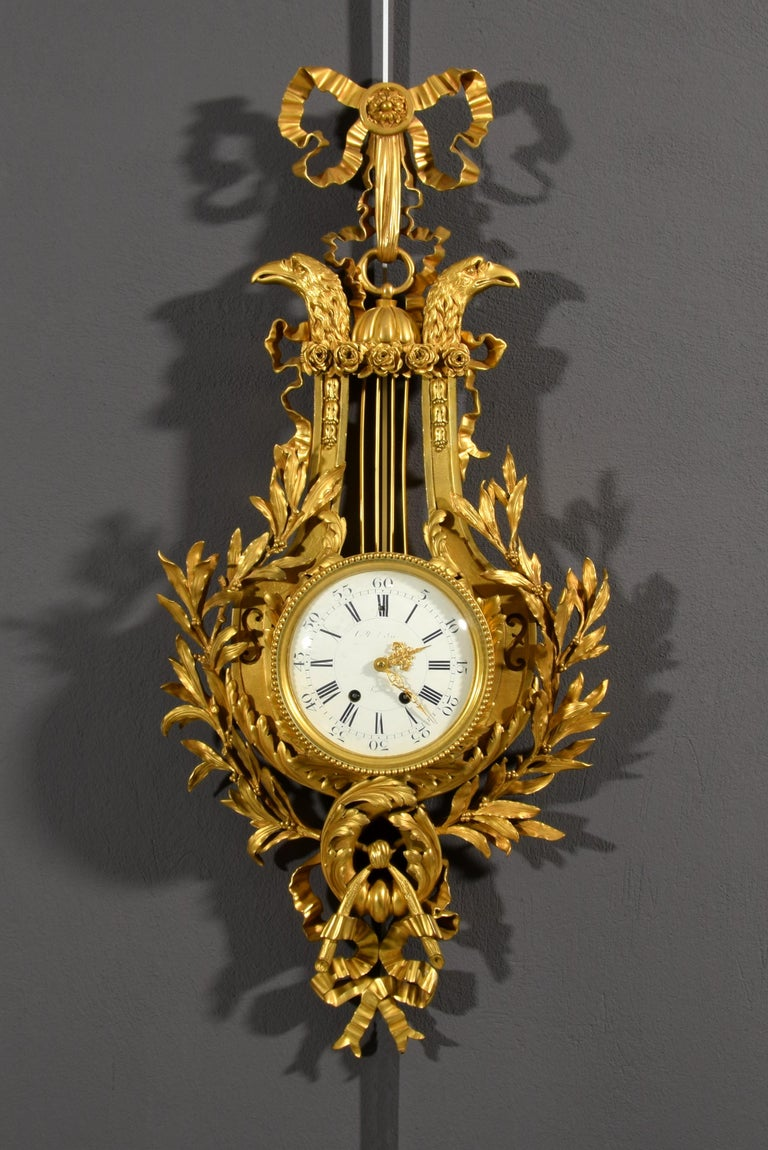 19th century, French Gilt Bronze Cartel Clock For Sale 2