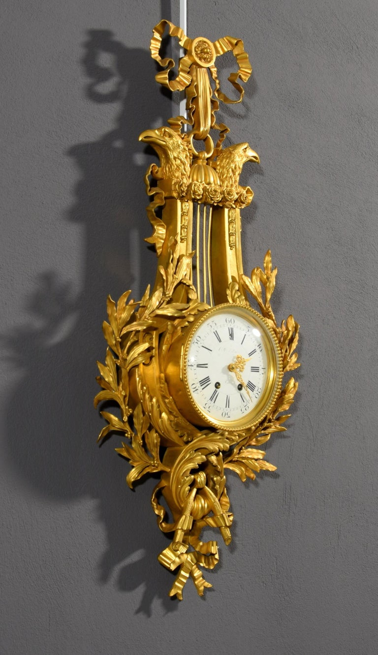 19th century, French Gilt Bronze Cartel Clock For Sale 3