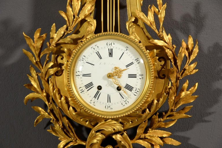 19th century, French Gilt Bronze Cartel Clock For Sale 4