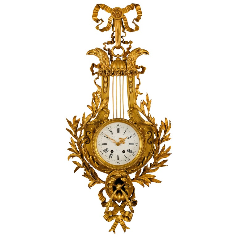 19th century, French Gilt Bronze Cartel Clock For Sale