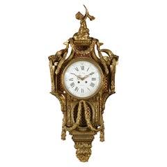 19th Century French Gilt Bronze Cartel Clock Louis XVI Style by Le Roy, Paris