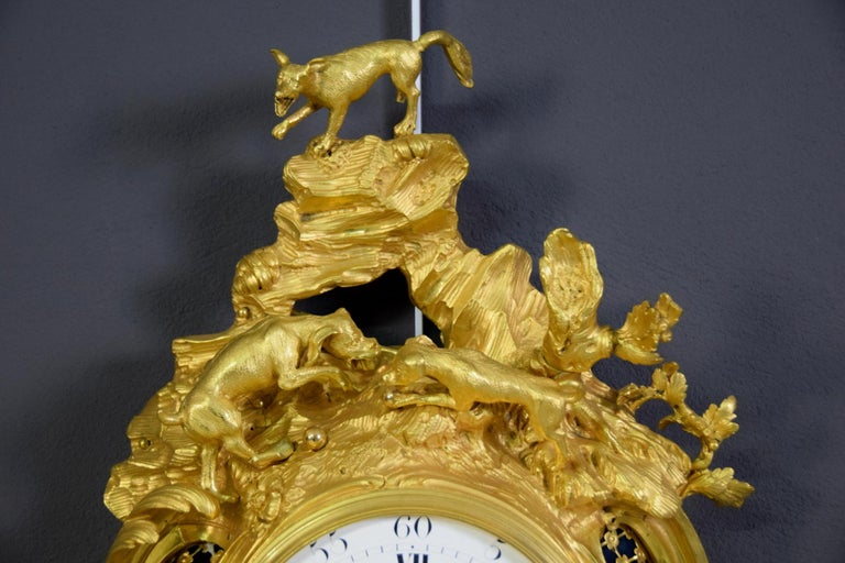 19th Century French Gilt Bronze Cartel Wall Clock For Sale 6