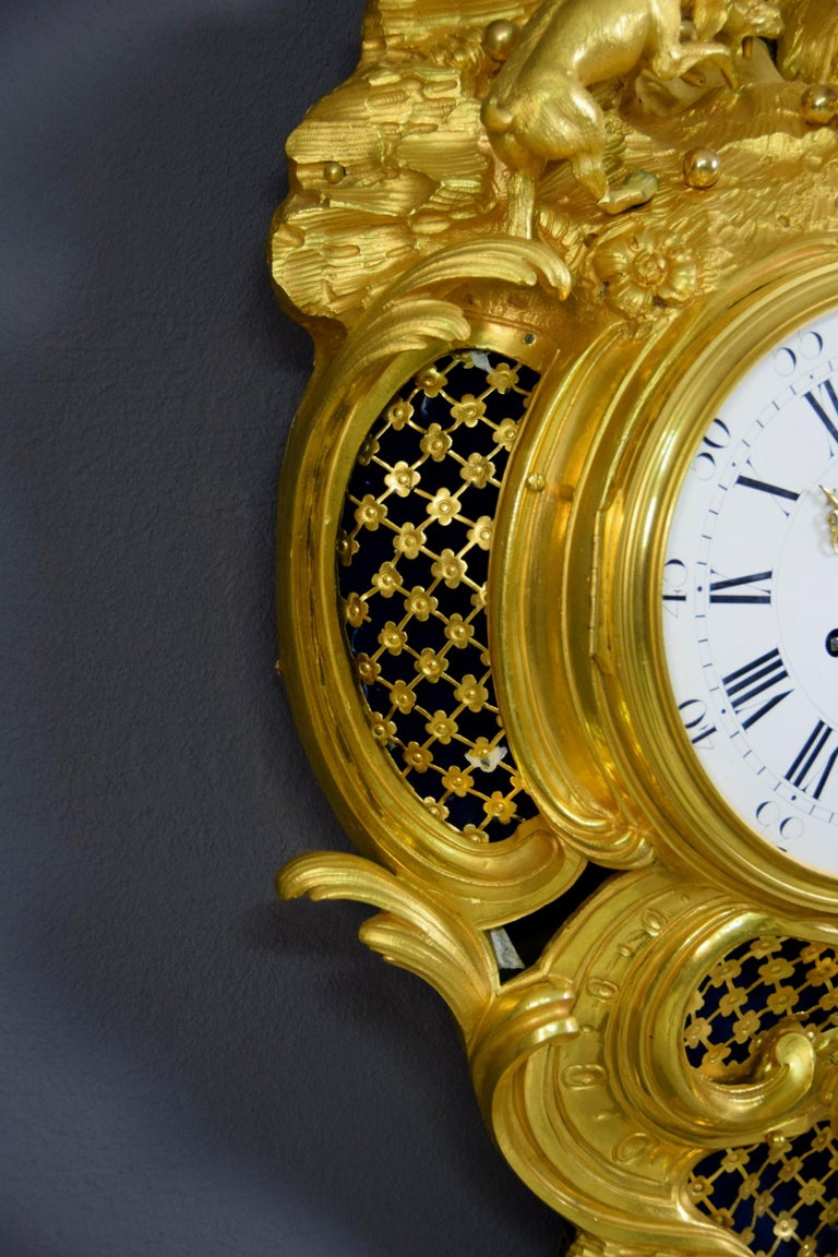 19th Century French Gilt Bronze Cartel Wall Clock For Sale 7