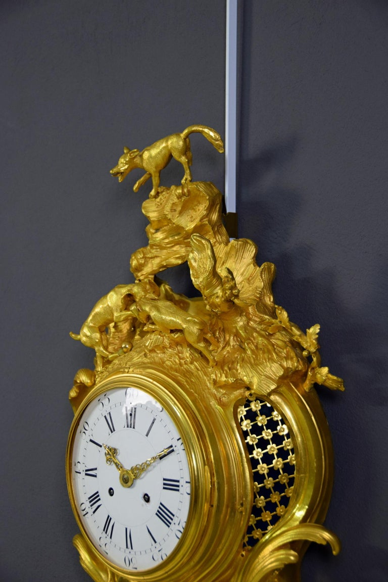 19th Century French Gilt Bronze Cartel Wall Clock For Sale 8
