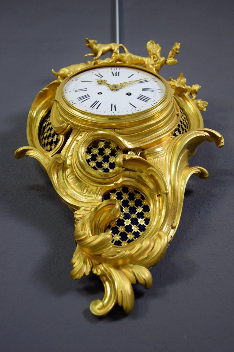 Louis XV 19th Century French Gilt Bronze Cartel Wall Clock For Sale