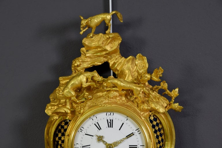 19th Century French Gilt Bronze Cartel Wall Clock For Sale 1