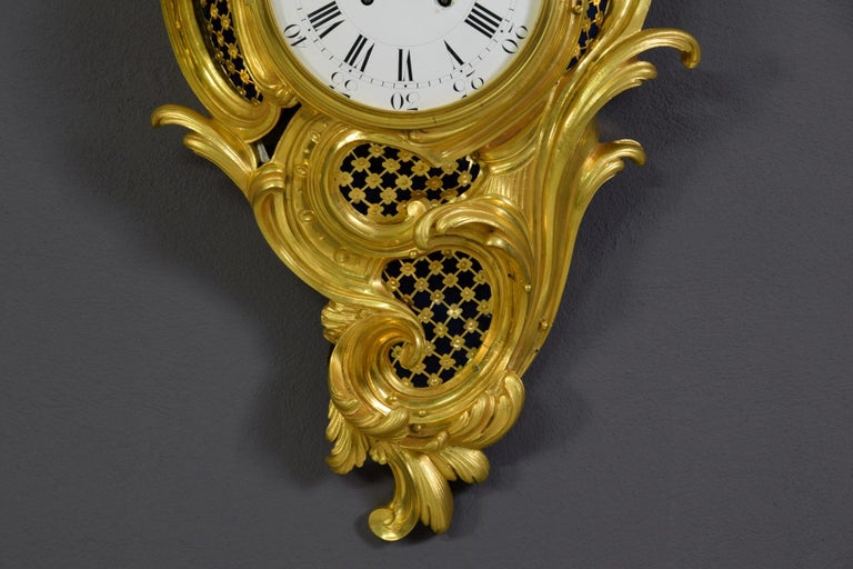 19th Century French Gilt Bronze Cartel Wall Clock For Sale 2