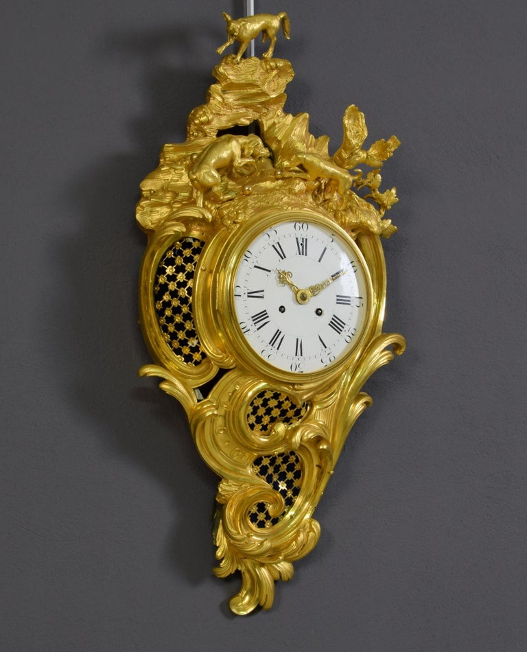 19th Century French Gilt Bronze Cartel Wall Clock For Sale 3
