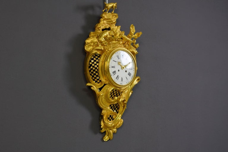 19th Century French Gilt Bronze Cartel Wall Clock For Sale 4