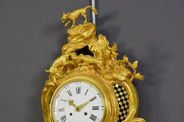 19th Century French Gilt Bronze Cartel Wall Clock For Sale 5
