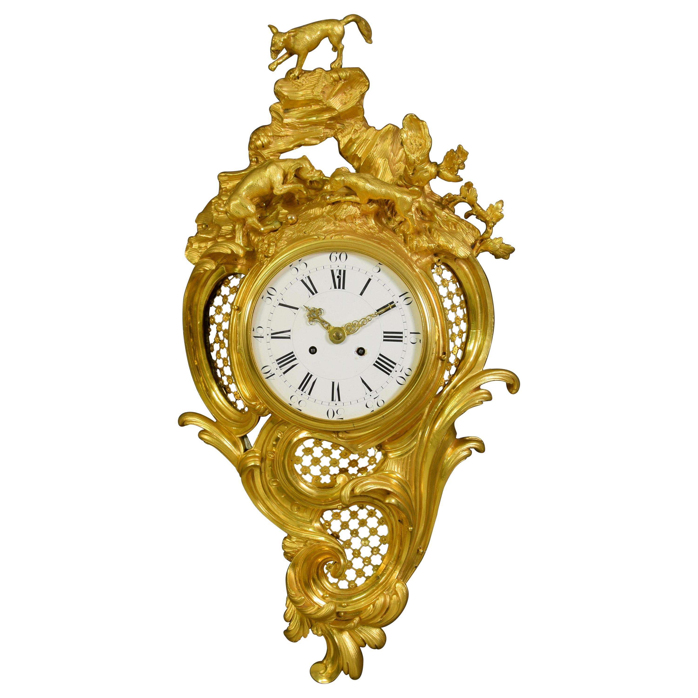 19th Century French Gilt Bronze Cartel Wall Clock