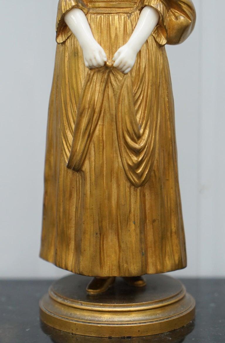 19th Century French Gilt Bronze Dominique Alonzo Statue La Vuelta De Mercado For Sale 7