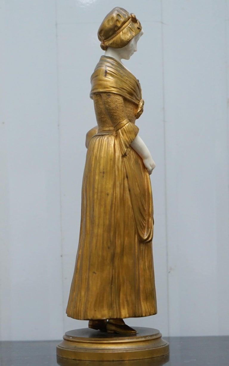 19th Century French Gilt Bronze Dominique Alonzo Statue La Vuelta De Mercado For Sale 8