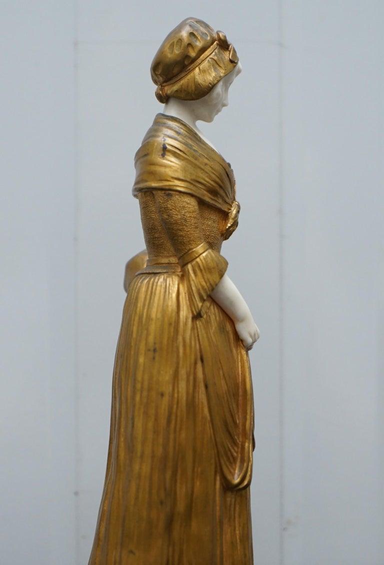 19th Century French Gilt Bronze Dominique Alonzo Statue La Vuelta De Mercado For Sale 9