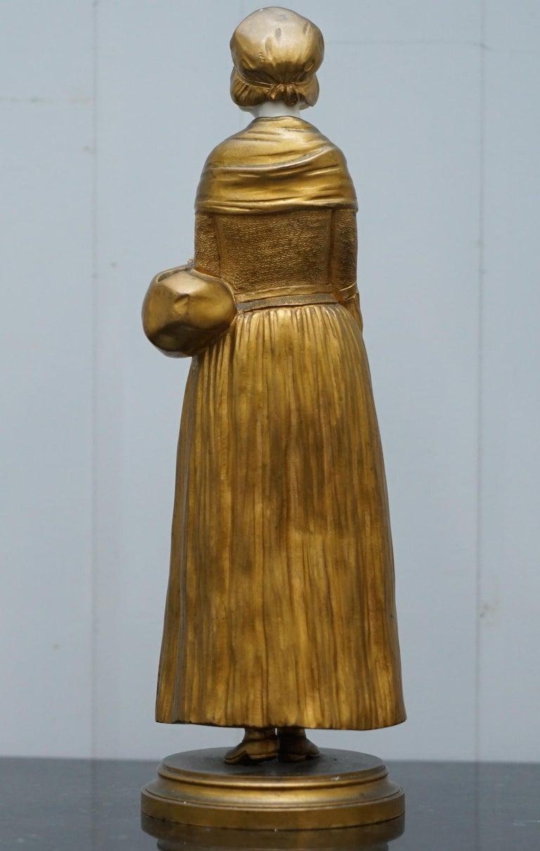 19th Century French Gilt Bronze Dominique Alonzo Statue La Vuelta De Mercado For Sale 10