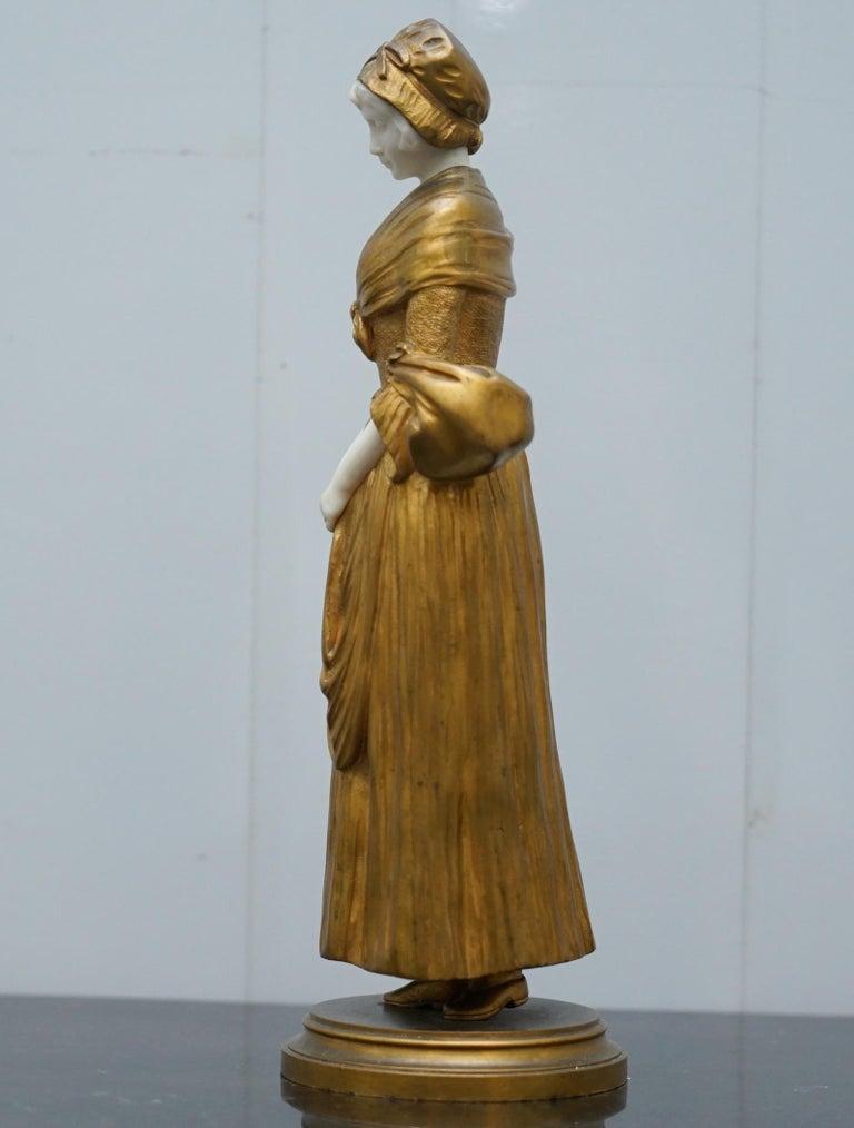19th Century French Gilt Bronze Dominique Alonzo Statue La Vuelta De Mercado For Sale 12