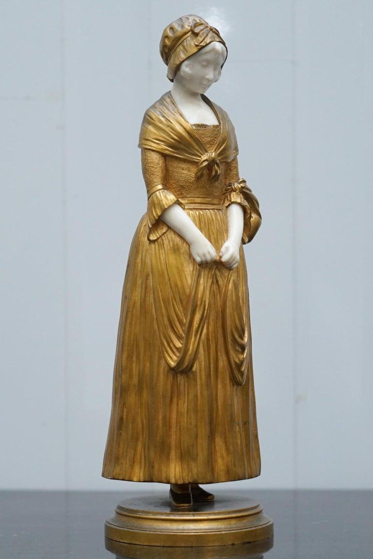 19th Century French Gilt Bronze Dominique Alonzo Statue La Vuelta De Mercado For Sale 3
