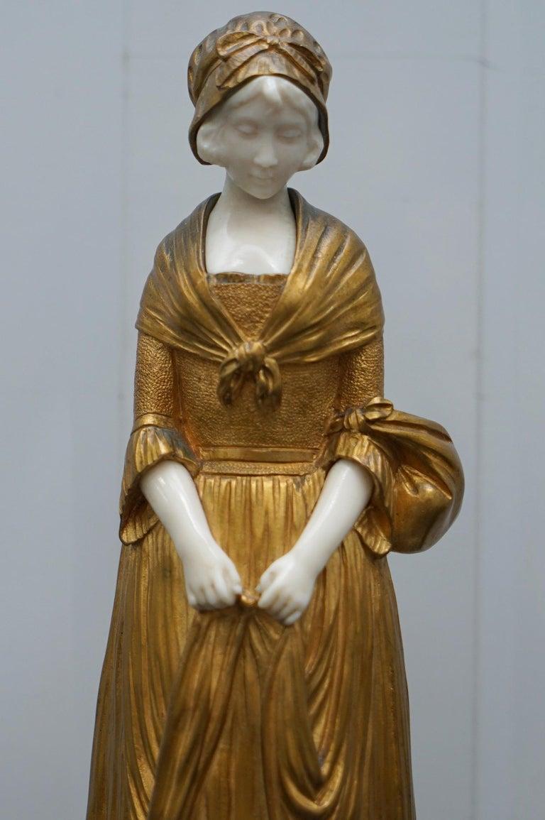 19th Century French Gilt Bronze Dominique Alonzo Statue La Vuelta De Mercado For Sale 4