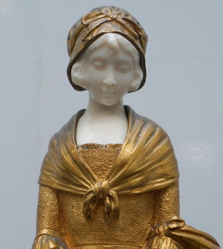 19th Century French Gilt Bronze Dominique Alonzo Statue La Vuelta De Mercado For Sale 5