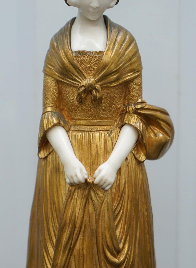 19th Century French Gilt Bronze Dominique Alonzo Statue La Vuelta De Mercado For Sale 6