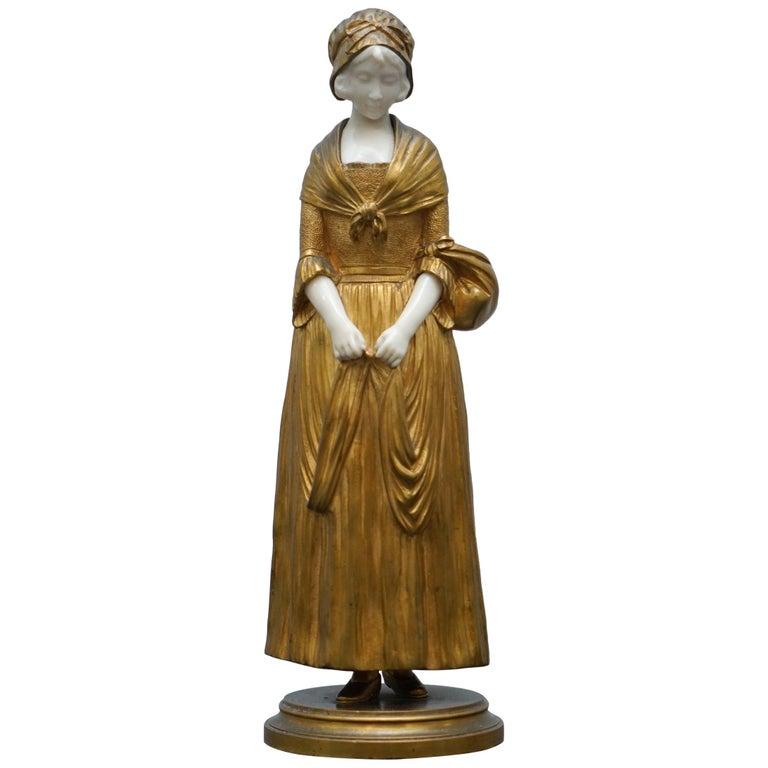 19th Century French Gilt Bronze Dominique Alonzo Statue La Vuelta De Mercado For Sale