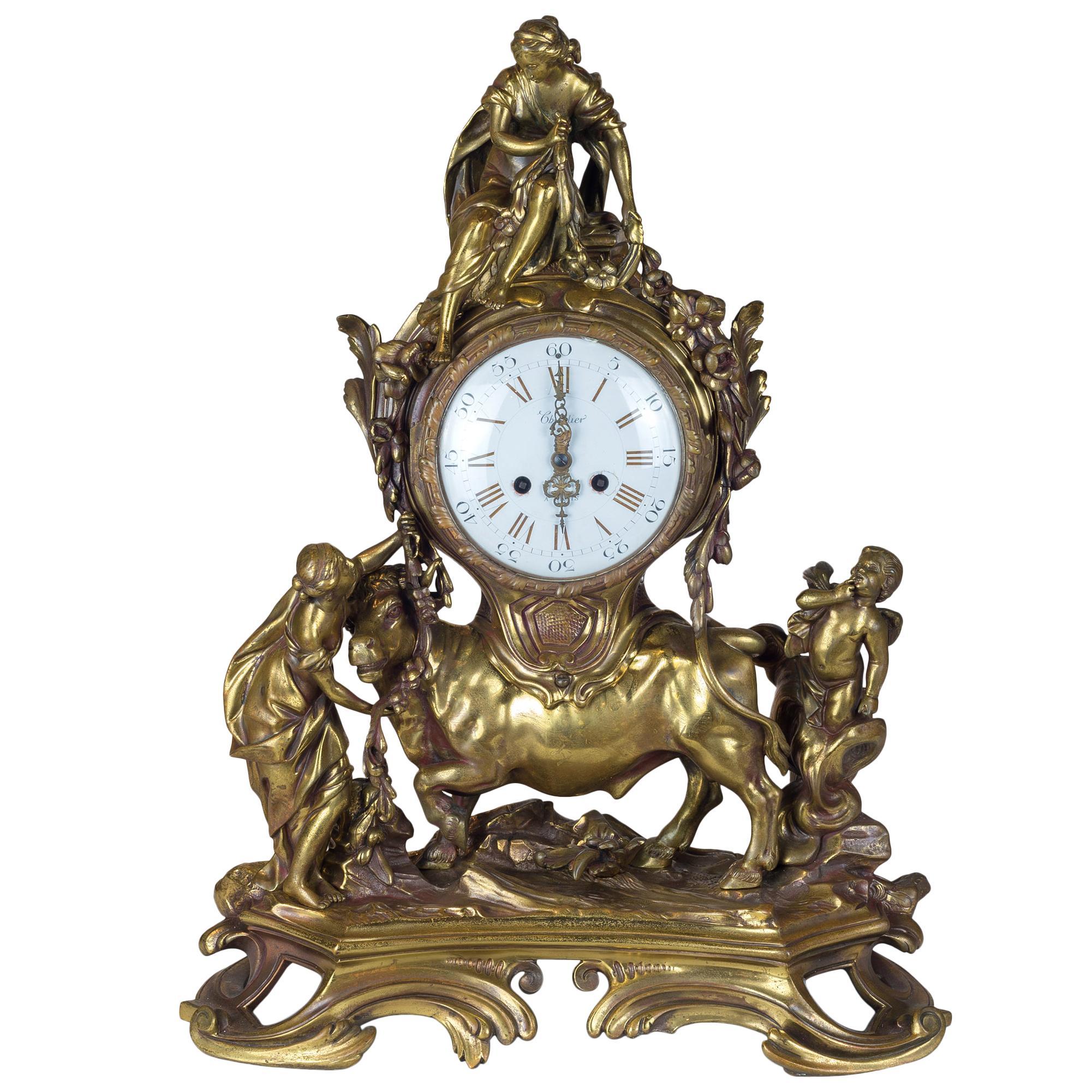 19th Century French Gilt Bronze Figural Mantel Clock