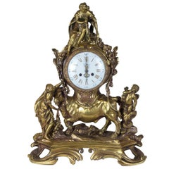 19th Century French Gilt Bronze Figural Mantel Clock