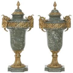 19th Century French Gilt Bronze Green Marble Cassolettes