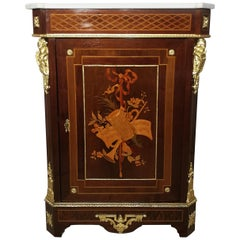 19th Century French Gilt Bronze Inlaid Marble-Top Side Cabinet