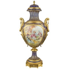 19th Century French Gilt-Bronze Mounted Sevres-Style Porcelain Vase and Cover