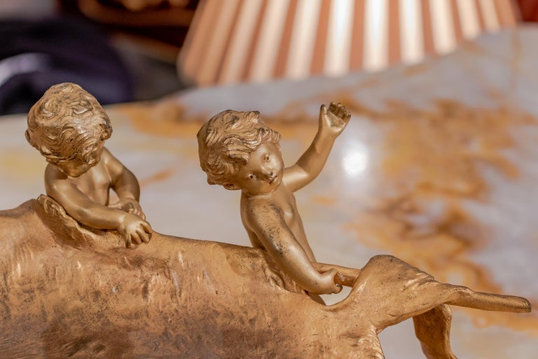 19th Century French Gilt Bronze of Hunting Cherubs with There Kill by Moreau For Sale 2